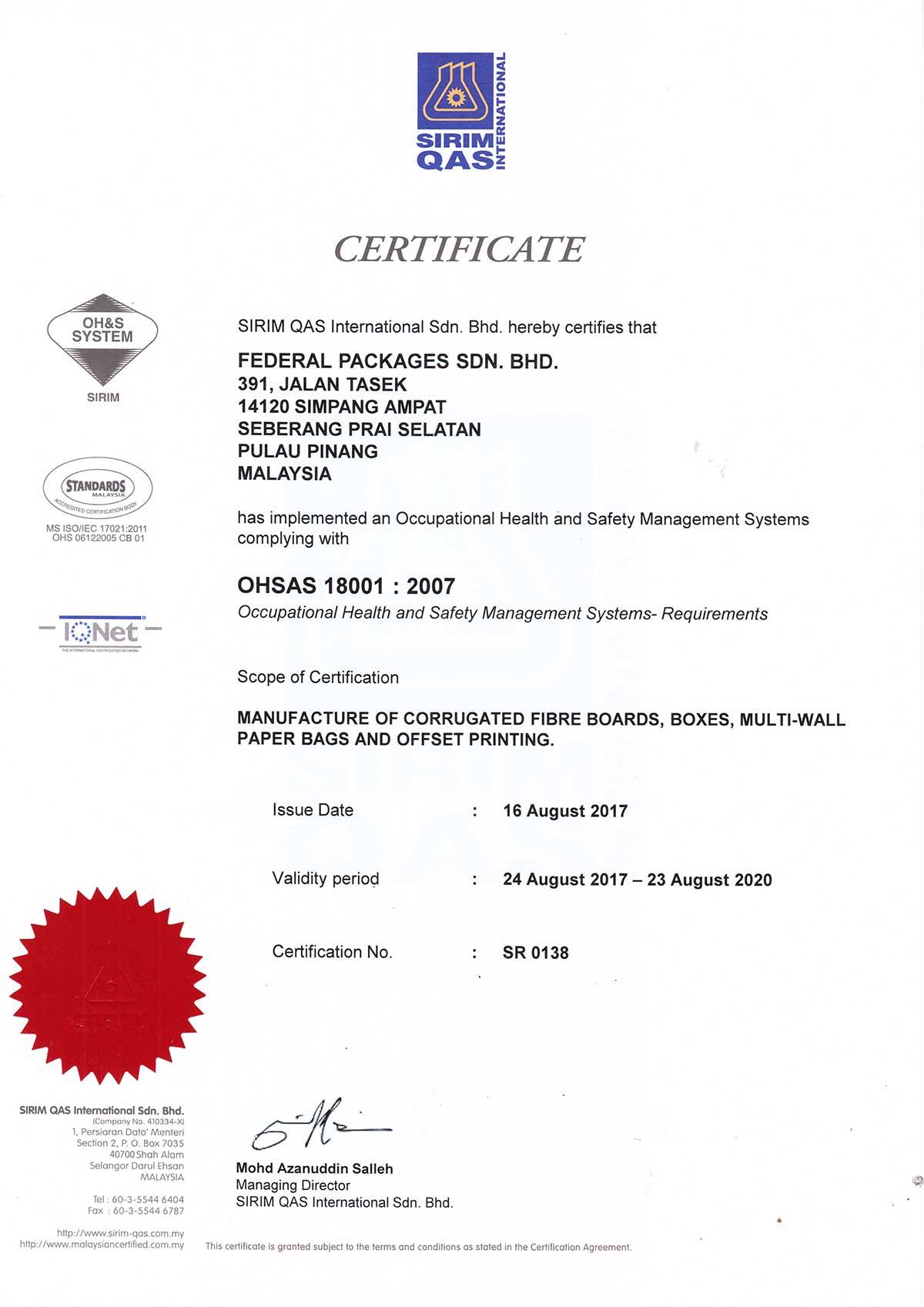 OHSAS 18001-2007-Federal-Packaging-Sdn-Bhd